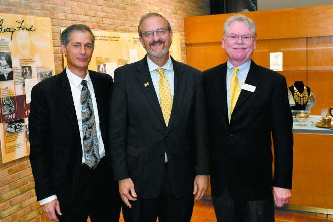 Detroit Jewish News Foundation President Arthur Horwitz, University of Michigan President Dr. Mark Schlissel and U-M Bentley Historical Library Executive Director Terry McDonald