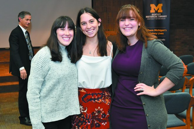 Jordyn Rosenzweig, Emily Cloch and Ali Duhan, all of Ann Arbor and all students in U-M's Jewish Communal Leadership Program