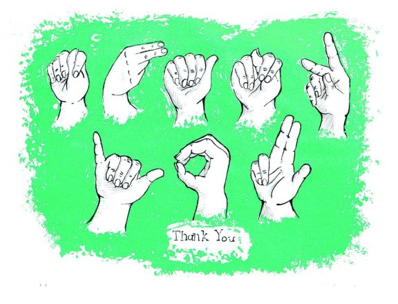 "sign language hands spelling out ""thank you"" with the words ""thank you"" spelled out beneath from Marwen."