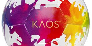 "soccer ball with splats of colorful paint on it and the word ""KAOS"""