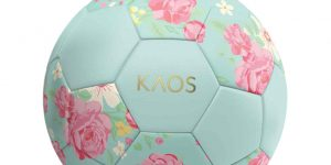 "soccer ball in light blue with pink flowers on it and the word ""KAOS"""