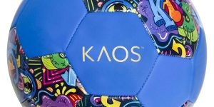 "soccer ball in dark blue with colorful swirls on it reading ""KAOS"""