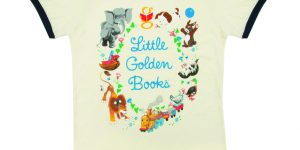 "shirt reading ""Little Golden Books"" with animals in a circle around it from Out of Print Clothing."