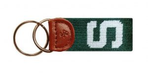 "hand stitched needlepoint keychain with a Michigan State ""S"" on it."