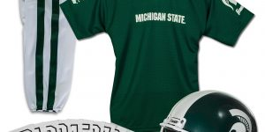 Michigan State Jersey, pants, football helmet and stickers