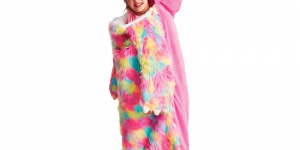 a little girl in a pink, blue and yellow fuzzy sloth sleeping bag.