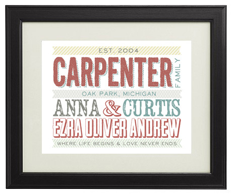 Picture from Catching Fireflies with the names of a family and when the family started/was established. Customizable. this one says Est. 2004, Carpenter Family. Oak Park, MI. Anna & Curtis, Ezra Oliver Andrew Where life begins & love never ends.