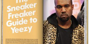 "inside The Ultimate Sneaker Book with a page layout showing on the left ""The Sneaker Freaker Guide to Yeezy"" and on the right a photo of Kanye West."
