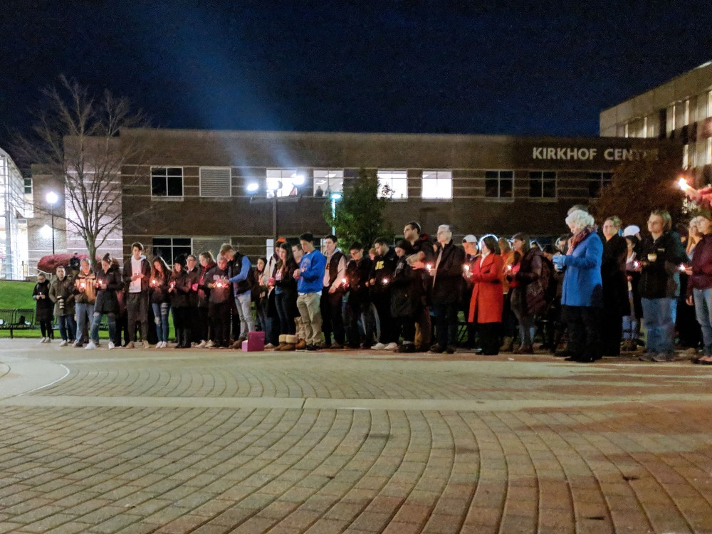 students at a GVSU vigil