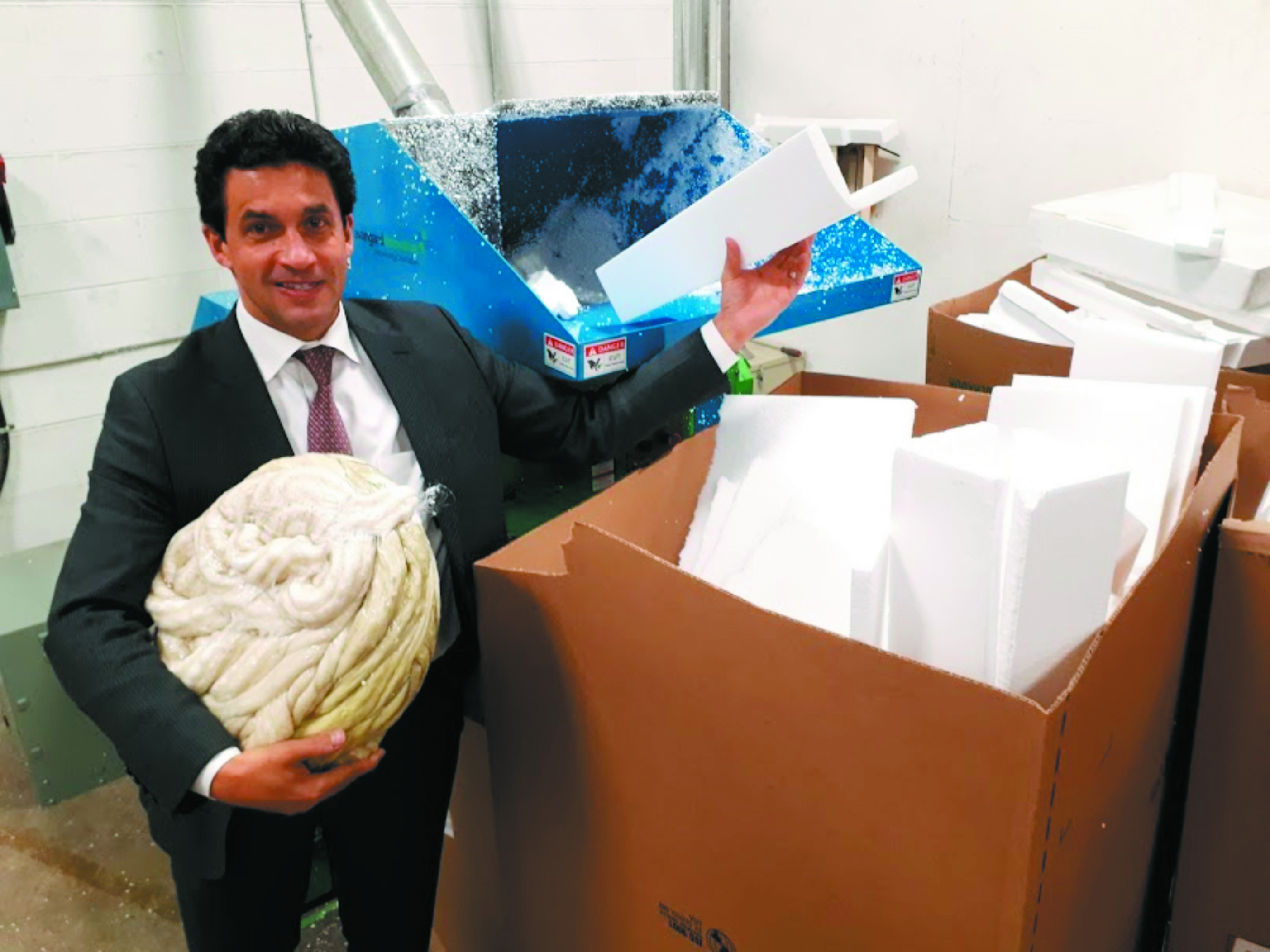 Tepperman's president Andrew Tepperman in front of the emulsifier, which converts Styrofoam into pucks to be recycled.