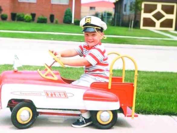 The young Ballmer in Oak Park: In his firetruck in the neighborhood