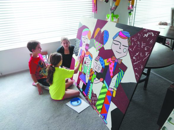 Randi Schreiber making art with her children, Josh and Hannah