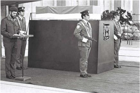David Ben-Gurion's body lies in state in a flag-draped coffin at the Knesset in 1973.