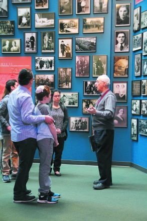Docent Michael Leibson leads a tour with Temple Israel students.