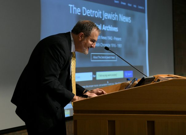 U-M President Schlissel performs the first search of the DJN archives, now hosted by the Bentley Library.