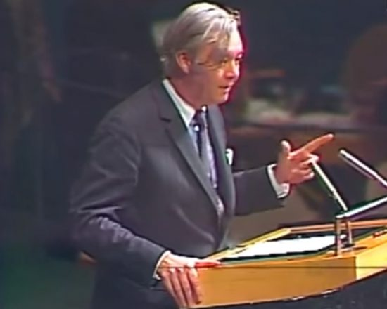 """The United States rises to declare before the General Assembly of the United Nations and before the world that it does not acknowledge, it will not abide by, it will never acquiesce in this infamous act,"" the U.S. ambassador to the United Nations, Daniel Patrick Moynihan, tells the U.N. General Assembly after its passage of Resolution 3379 on Nov. 10, 1975. ""The lie is that Zionism is a form of racism. The overwhelmingly clear truth is that it is not."""