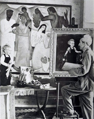 Reuven Rubin paints a portrait of his son in 1951.