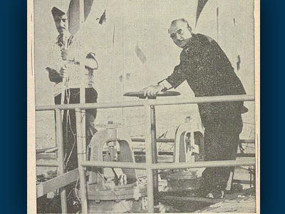Finance Minister Levi Eshkol opens the valve to send water into Jerusalem's new reservoir Nov. 18, 1958.