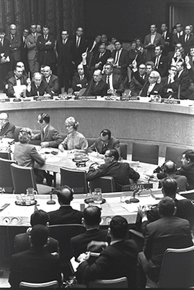 The U.N. Security Council votes in favor of Resolution 242 on Nov. 22, 1967.