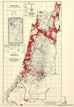 A map from March 31, 1945, shows Jewish-owned areas in red, while more than half the remaining