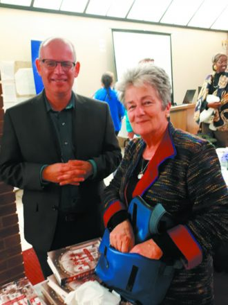 Professor Shachar Pinsker with Kingsville Ontario resident Cathy Basskin, who attended the event