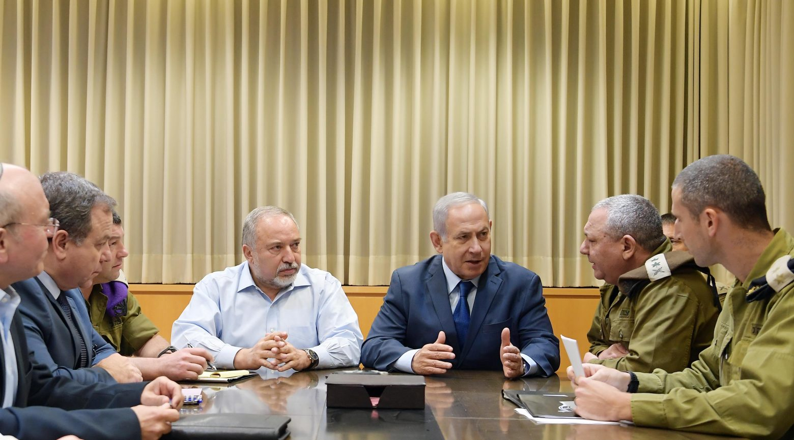 Prime Minister Benjamin Netanyahu, this evening, (Monday, 12 November, 2018) at the Defense Ministry in Tel Aviv, is holding a security consultation with the Minister of Defense, the IDF Chief of Staff and senior members of the defense establishment and the IDF. Photo by Amos Ben Gershom, GPO
