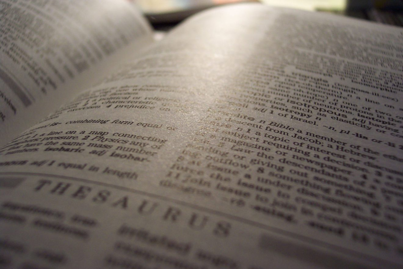 Page from a thesaurus