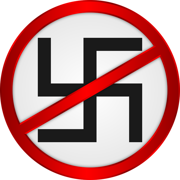 anti-Nazi sign with a swastika with a cross going through it.