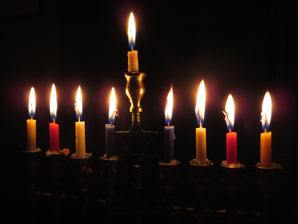 lit Chanukah menorah
