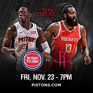 Detroit Pistons ad for the game between Detroit and Houston on November 23, 2018