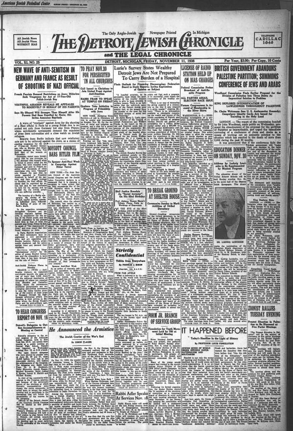 Nov 11, 1938 issue of the Detroit Jewish Chronicle featuring the headline: