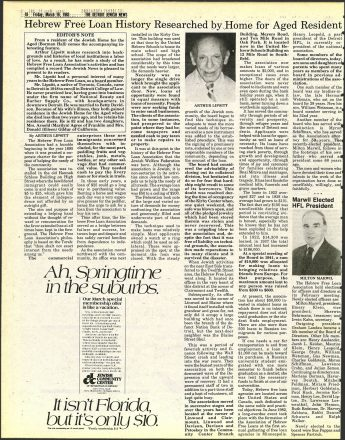 March 18, 1983 issue of the Detroit jewish News article featuring the history of the Hebrew Free Loan researched by Home for Aged Resident