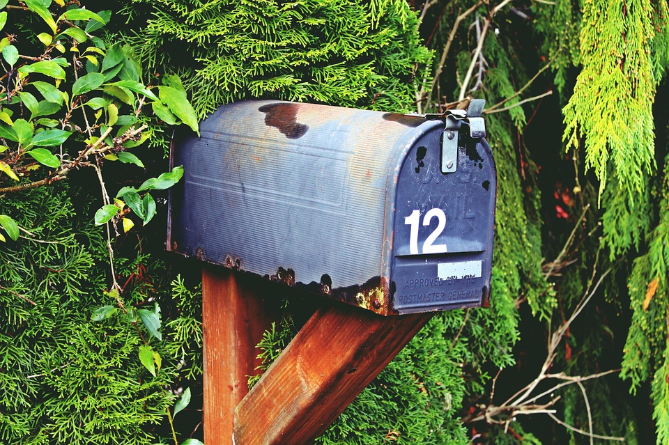 mailbox with the number 12 on it in front of some shrubbery.