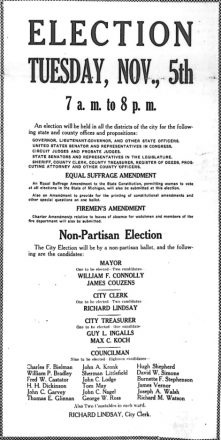 election Tuesday, Nov. 5th poster from the Detroit Jewish News or Detroit Jewish Chronicle