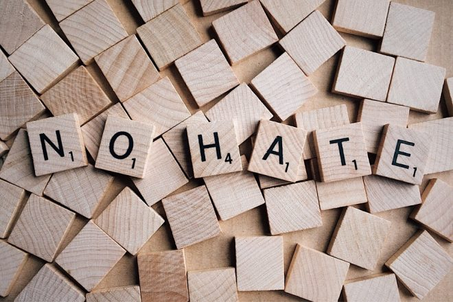 No Hate spelled out in Scrabble letters