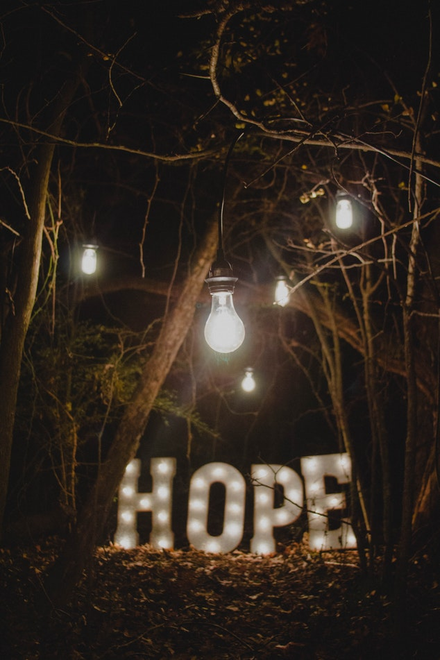 "Lights and lighted word ""hope"" in a clearing of trees at night."