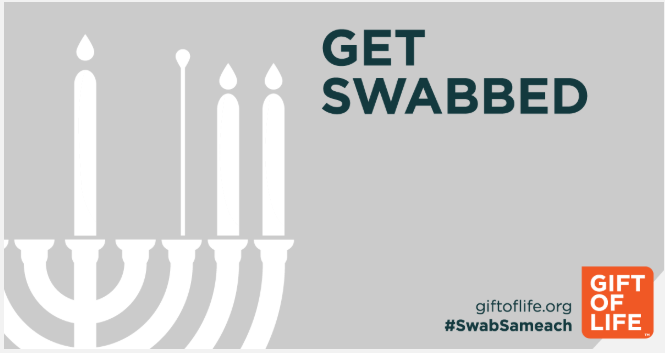 Get Swabbed with a graphic of a menorah lit with candles and cotton swabs and the Gift of Life logo and #SwabSameach.