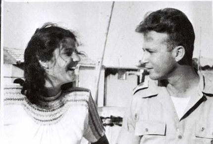 Leah Rabin and Yitzhak Rabin smile at each other in 1948.