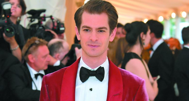 Andrew Garfield in a red tux and black bow tie
