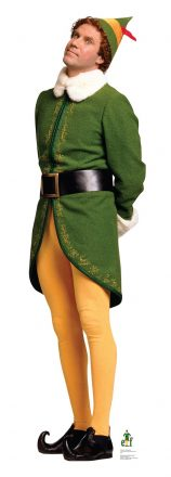 Will Ferrell as Buddy the Elf - tall man in yellow tights, pointed shoes, and a green winter coat and pointed hat