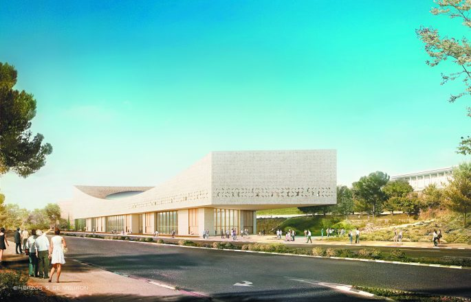 Rendering of the new National Library of Israel.