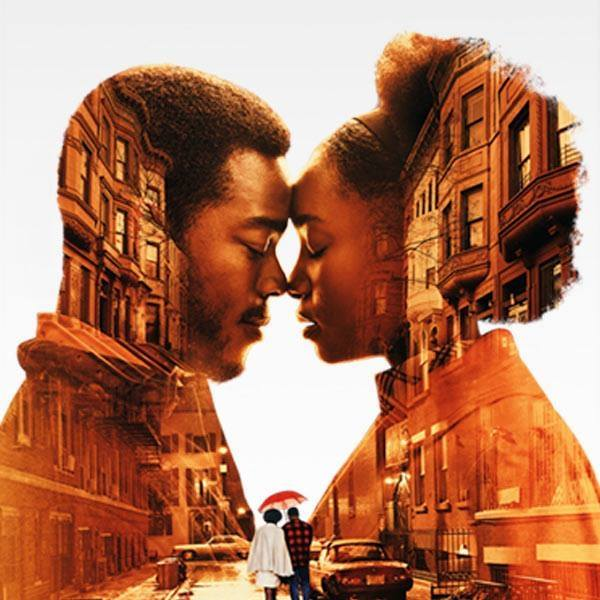 Movie poster from the movie If Beale Street Could Talk showing a man and a woman nose to nose with an image of a street with buildings behind them and a smaller image of the two walking under an umbrella at the bottom