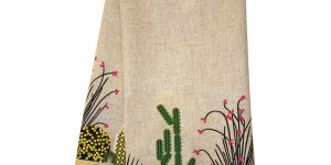 dish towel with cacti lining the bottom