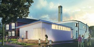 A rendering of the new Pewabic Tile Studio with a more modern design