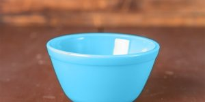 Robin's Egg blue Mixing Bowl on a wooden table