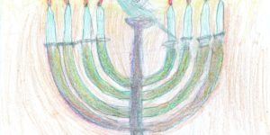 illustrated menorah with a bird on it