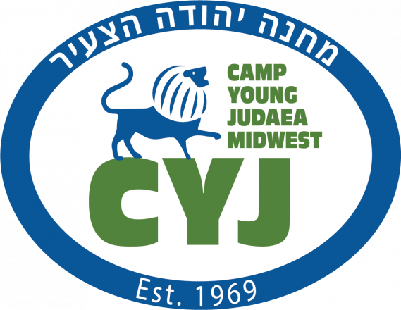 Camp Young Judaea Midwest CYJ logo with a lion roaring