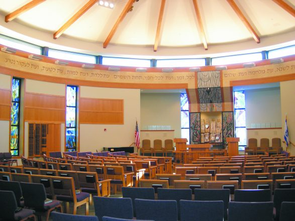 Congregation B'Nai Israel in Sylvania, Ohio. - many chairs/pews with stained glass windows