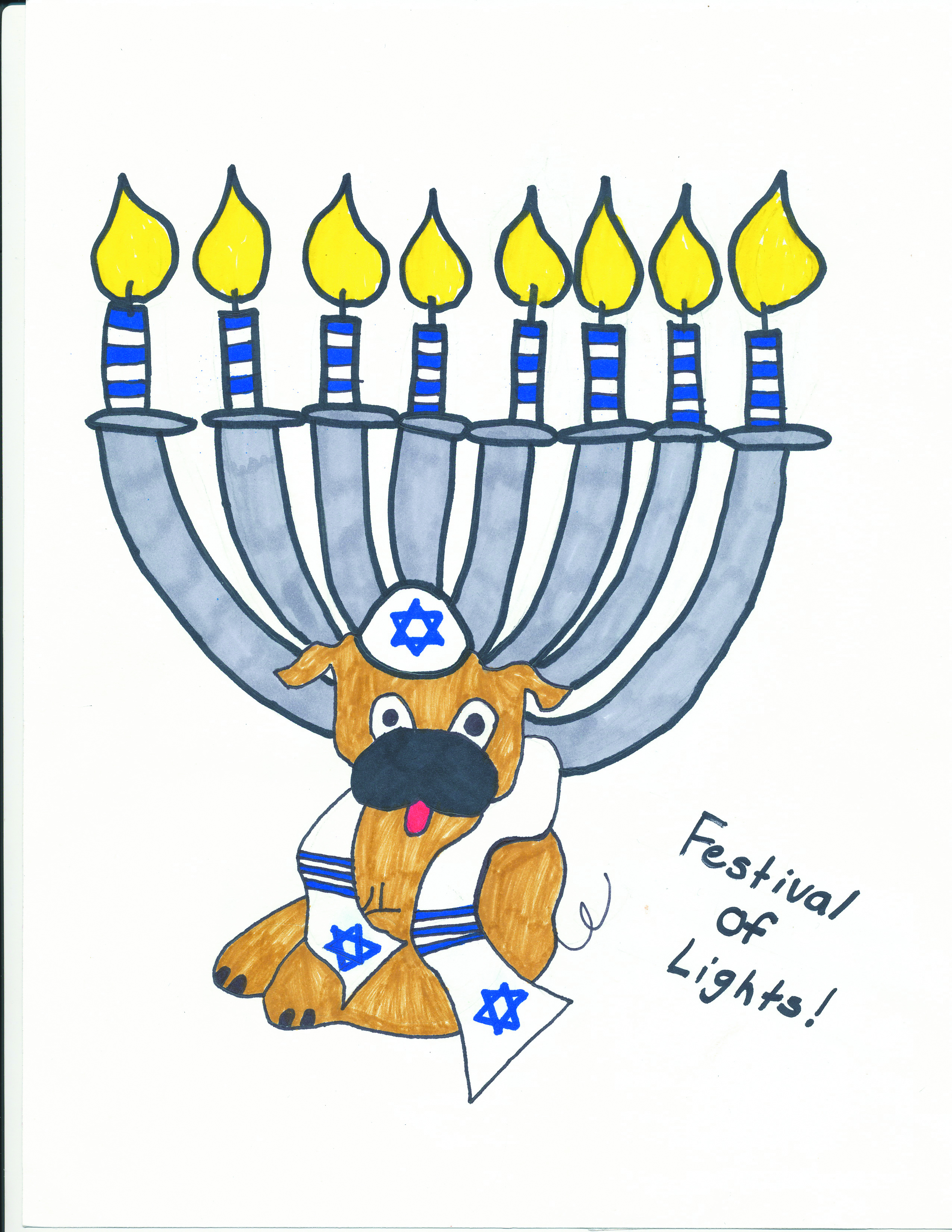 illustration of a lit menorah with a dog wearing a kippah and tallit with stars of David on them