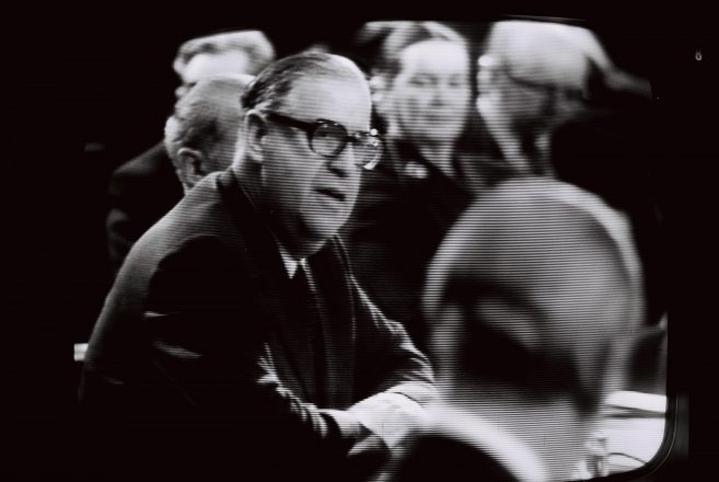 Israeli Foreign Minister Abba Eban addresses the opening session of the Geneva peace conference Dec. 21, 1973.